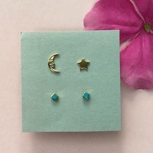 Cute stud earrings! 2 pairs of gold tone earrings